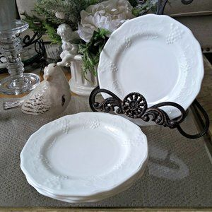 VINTAGE Set/4 MILK Glass DESSERT Plates